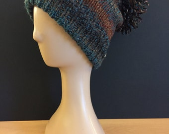 Hand Knitted bobble hat - russet red/teal/brown (pheasant)