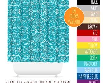 Silent Era Shower Curtain. 14 Colors Available. Bathroom Decor, Swirls, Modern Art Bathroom Decor, Colorful Shower Curtain