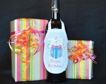 Happy Birthday Wine Bottle Apron Cross Stitch Birthday Present