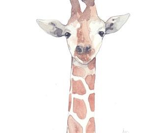 Watercolor print - Cute gyraffe