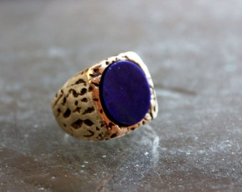 Lapis lazuli ring, large ring, boho ring, statement ring, solid gold ring, festival jewelry, witch ring, goth ring, unisex ring, biker ring