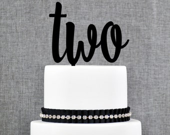 Second Birthday, Turning Two Cake Topper, Second Anniversary, Two Year Anniversary Cake Topper - (T330)