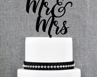 Mr and Mrs Cake Topper, Mr and Mrs Wedding Cake Topper, Calligraphy Cake Topper, Scripted Cake Topper, Wedding Cake Topper (T370)