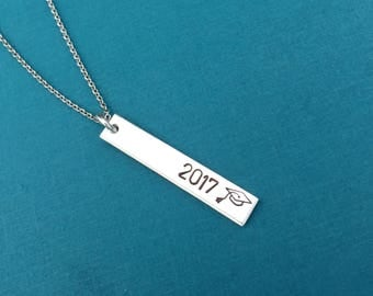 Class of 2017 Necklace, Graduation Gift, Vertical Bar Necklace, Personalized Jewelry, Skinny Bar Necklace, Layering Necklace, Hand Stamped