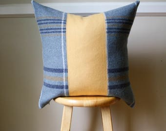 Reserved for Ross - Gray, Yellow and Navy Plaid Pendleton Wool Pillow Cover - 20x20