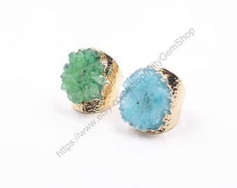 Open Druzy Rings -- Wholesale Drusy Gemstone Natural midi multistone guards signet solitaire bridesmaid jewelry supplies wholesale YHA-238