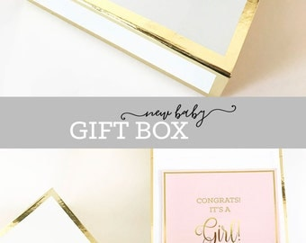 Baby Shower Gift Basket BOX - New Mom Gift - Pregnancy Gift Box Baby Gift Basket Box New Baby Gift Ideas (EB3171BBY) Personalized EMPTY BOX