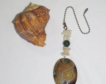 Yellow, Green and White, Natural Ceiling Fan Pull,  Agate Fan Pull,  Agate Light Pull,  Agate Chain Pull, One of a Kind Gifts