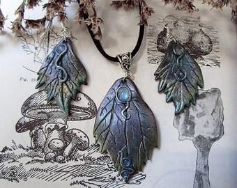 Winter Leaf Pendant and Earrings, Leaf Earrings, Leaf Pendant, Polymer Clay, Rainbow Moonstone Leaf, Jewelry Set