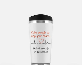 Nurselife Gift For A Nurse - Hipster Girl, Top Knot Nurse, Cute Enough Mug, Stop Your Heart Mug, Restart It Mug, Top Knot Coffee