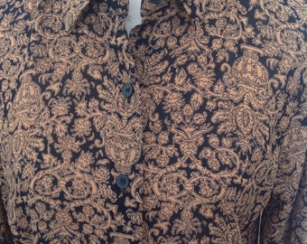Chaus vintage blouse...Paisley Print.....Black and brown....great condition.