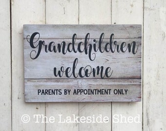 Grandchildren Welcome Parents By Appointment Only| Pallet Effect | Wooden Sign | Funny Sign | Mother's Day | Grandmother | Grandparents