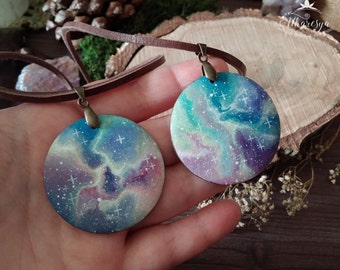 Hand-painted wooden necklace Fantasy Galaxy and Rose Quartz