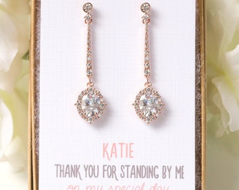 Bridesmaid Earrings Bridal Party Earrings Personalized Gift Bridesmaid Jewelry Dangle Earrings Bridal Party Jewelry Gifts  E345RG