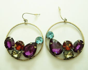 Vintage 80's  Colorful faux Rhinestone Dangling earrings. DISCO