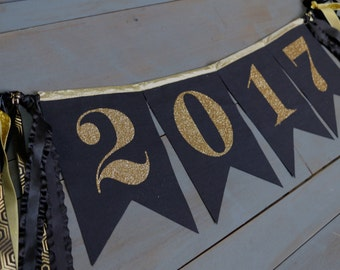 Class of 2017 Graduation Party Decorations Black & Gold Glitter Fabric Bunting Pennant Banner , Photo Prop, Office, Classroom or Home Decor