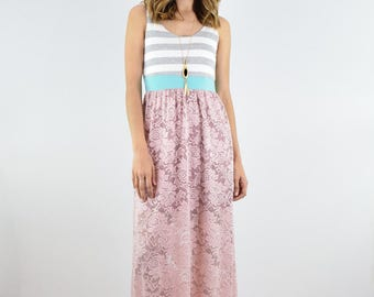 Stripe and crochet Maxi Dress S to xL