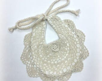 Boho Bib Lace Bib Cream White Fringe Baby Shower Bohemian