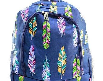 Personalized Navy Blue & Multi Feather Backpack * Bookbag with Monogram or Name * Custom Monogrammed Book bag * Embroidered Gift