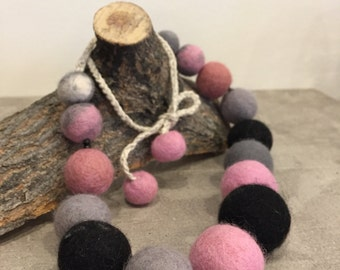 Pink and Gray Felted Necklace, Needle Felted Beads, Pink and Gray Necklace, Felted Beads, Handmade Beads, Handmade Gifts for Her