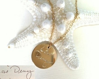 Handwriting Jewelry / Custom Handwriting necklace - Personalized Disc Signature Necklace - Round pendant - Actual handwriting  Necklace