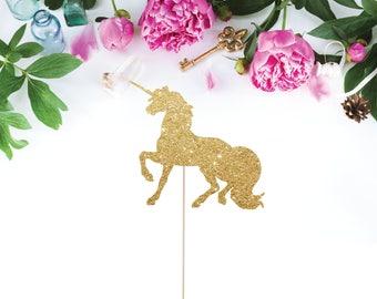 Unicorn Cake Topper, Unicorn Party Decorations, Unicorn Birthday, Glitter Unicorn Cake Topper, Gold Unicorn