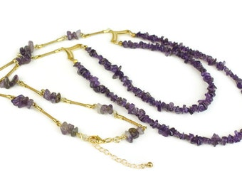 Multi Strand Amethyst Necklace, Amethyst chip gemstone,  strands of Golden Grass, natural necklace, Layered Necklace