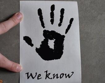 Skyrim Dark Brotherhood Vinyl Bumper Sticker. We Know Handprint Skyrim Adhesive Backed Vinyl Stickers Skyrim Thieves Guild Assassin