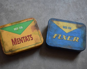 Fallout Mentats and Fixer new Metal Tins, 2 Pack Bundle of Fall Out Cosplay Props. Distressed Wasteland Chem Prop Fallout 4 New Vegas Mentat