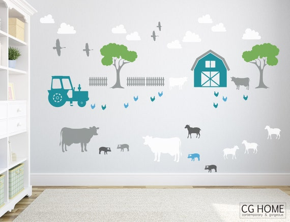grand FARM animals Wall Sticker Cow Sheep Pig Barn Birds Wall Decals Entire Wall for kids Nursery Playroom Decoration Self Adhesive Pattern