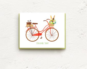 Red Bicycle Card, Thank You Cards, Thank You Cards Set, Thank You Notes, Stationery Set, Thank You, Wedding, Just Because, Boxed Card Set
