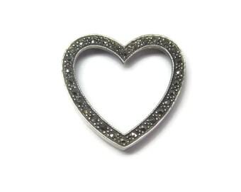 Large Vintage Sterling Marcasite Heart Pendant