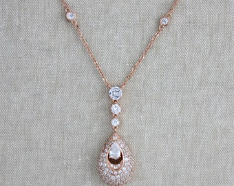 Rose gold necklace, Crystal Bridal necklace, Bridal jewelry, Rose gold earrings, Wedding jewelry set, Pendant necklace, Bridesmaid jewelry