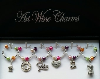 6 New Year's Eve themed Wine Charms, Auld Lang Syne, New Year, Themed Party, Party Favors, Thank You, Gift, New Year's Baby, Resolutions