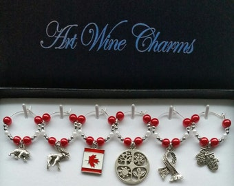 6 Canada themed Wine Charms, Canadian Wine Charms, Patriotic Wine Charms, Canada Day Decorations, July 1st Decorations, Canada Day Party
