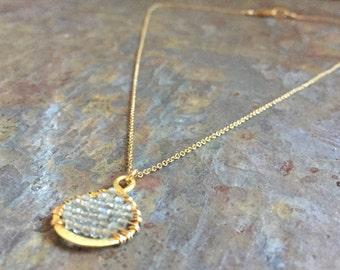 Labradorite gemstone gold charm necklace