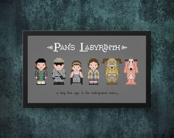 Pan's Labyrinth Cross Stitch Pattern Modern | Pale Man Cross Stitch Chart | Guillermo del Toro, Faun Cross Stitch Design, Movie Cross Stitch