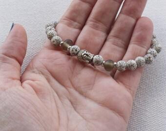 Buddha bracelet, Spiritual jewelry, White moon and stars bodhi seed mala, Surfer bracelet, Wood bead bracelet, Mindfulness jewelry, Buddhist