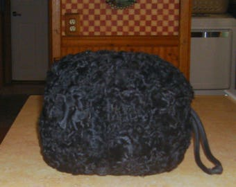 Vintage Black Astrakhan Persian Lamb Fur Satin Lined Hand Warmer Muff