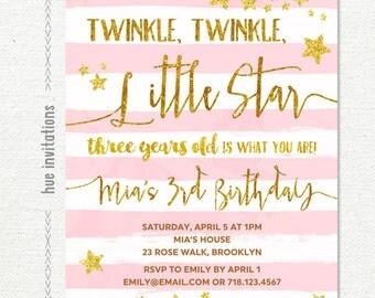 twinkle twinkle little star 3rd birthday invitation for girl, blush pink white stripes gold glitter stars, custom printable digital file