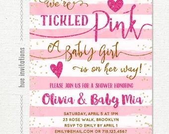 tickled pink baby shower invitation girl, pink gold baby shower invitation, hearts valentines baby shower blush pink stripes, printable file