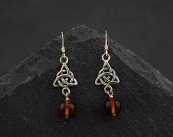 Earrings Amber Celtic Scottish trinity knot sterling silver. Outlander. Pagan wiccan jewelry. Halloween. Made in Scotland