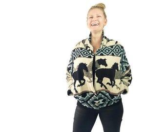 Vintage Blanket Jacket Running Horses Southwestern Style