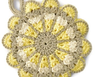 Crochet Flower Potholder,Made From Vintage Style Pattern,Yellow,Tan, and White,Kitchen Decor,Hot Pad,Handmade Cotton Hotpad,- Gift for Her