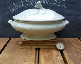 Antique Oval Ironstone Tureen, Forget-Me-Not, Wood, Rathbone And Co.