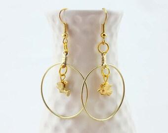 gold hoop earrings - gold bird earrings - tiny bird earrings - gold dangle earrings - dove earrings - gold dove charm earrings - gold plated