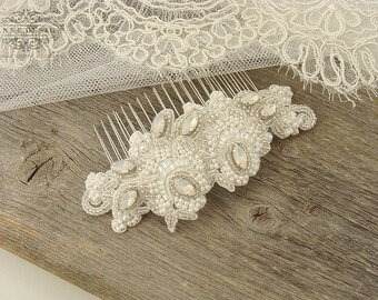 Beaded Bridal Lace Hair Comb with Rhinestones, Opal Wedding Hair Accessories, Lace Wedding Comb, White Lace Headpiece, Lace Hairpiece