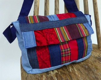 Recycled Fabric Scrap Small Messenger Bag in Blue and Red