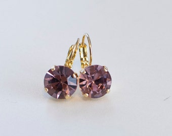 18th Century Style Reproduction Light Amethyst Purple Rhinestone Earrings.  Rococo, Colonial, Georgian, Regency, 19th Century, Historical.