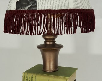 OOAK Book Lamp with Book Page Lampshade